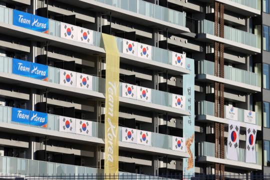 Tim Korea Selatan turunkan spanduk di kampung atlet Olimpiade