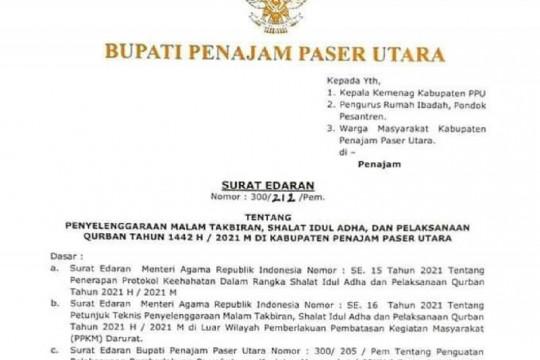 Bupati PPU menerbitkan surat edaran peniadaan Shalat Id zona tertentu