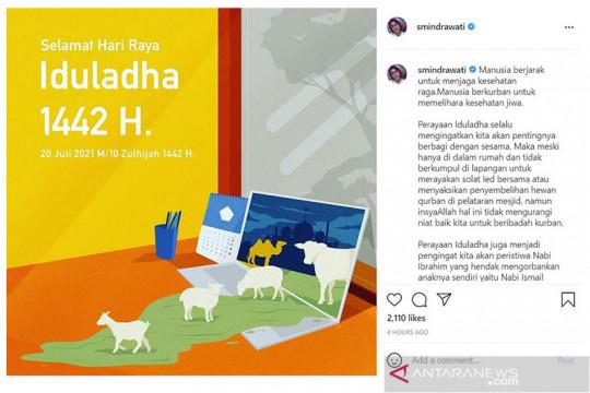 Sri Mulyani: Idul Adha ingatkan pentingnya berbagi dengan sesama