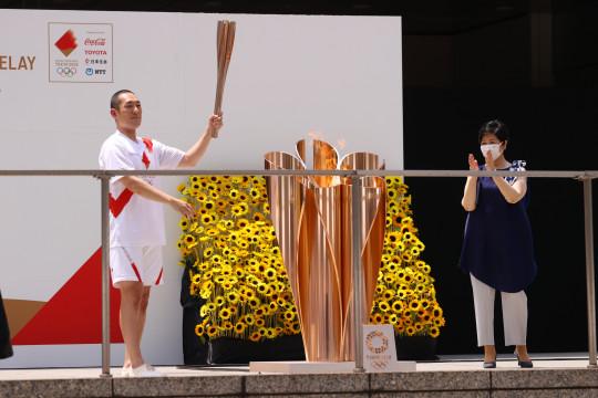 Kirab obor Olimpiade berakhir di Tokyo sebelum upacara pembukaan