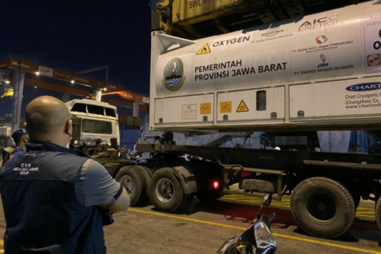 Pemprov Jabar terima 85 ton oksigen cair dari Sumsel