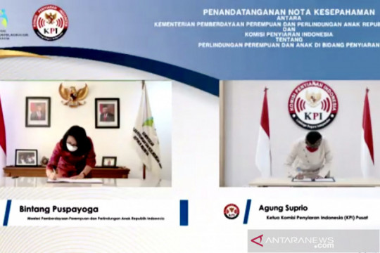 KPI dan KPPPA teken MoU perlindungan perempuan dan anak pada penyiaran