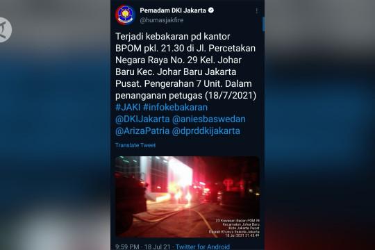 Gedung BPOM terbakar, 17 unit mobil damkar dikerahkan