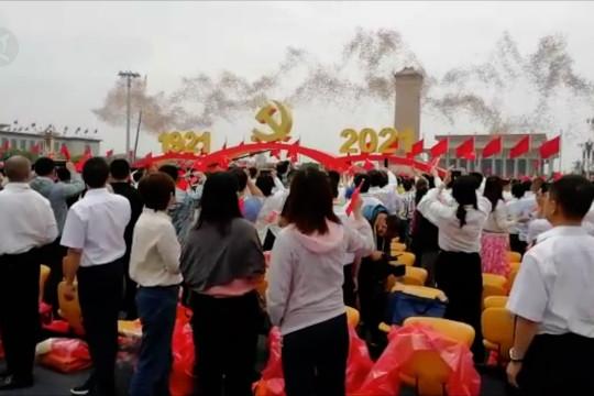 Perayaan satu abad Partai Komunis China di Lapangan Tiananmen