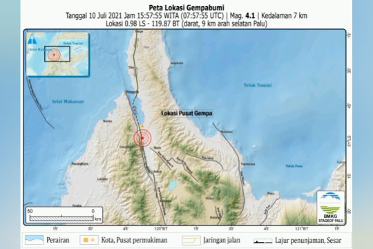 Gempa 4.1 magnitudo guncang Sigi dan Kota Palu