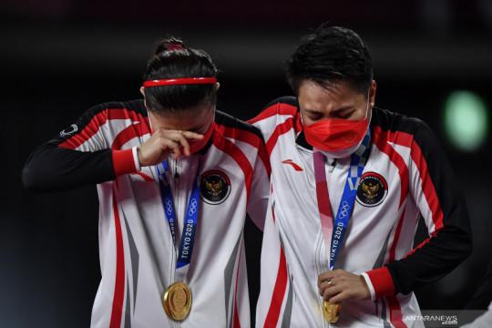 Sepak bola nasional rayakan emas Olimpiade dari Greysia/Apriyani