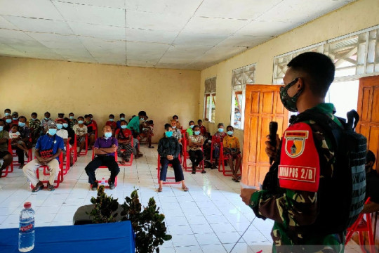 Edukasi pencegahan COVID-19 digelar Satgas TNI di perbatasan RI-PNG