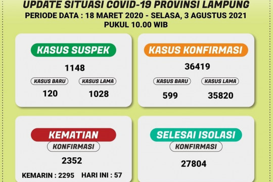 Dinkes: Pasien COVID-19 di Lampung bertambah 599 kasus