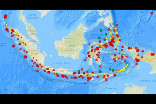 Rentetan gempa terjadi di busur Jawa dalam empat hari terakhir