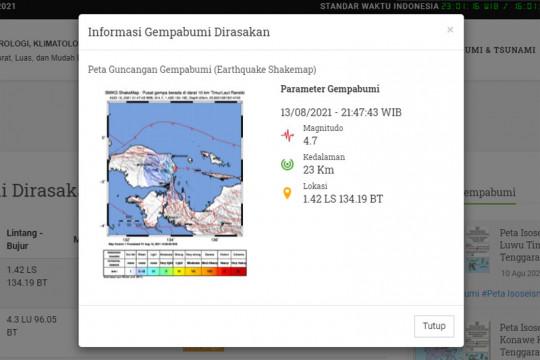 Gempa 4,7 magnitudo landa Ransiki, Manokwari Selatan