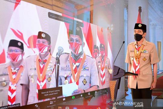 Presiden Jokowi berpesan Pramuka harus jadi pelopor disiplin prokes