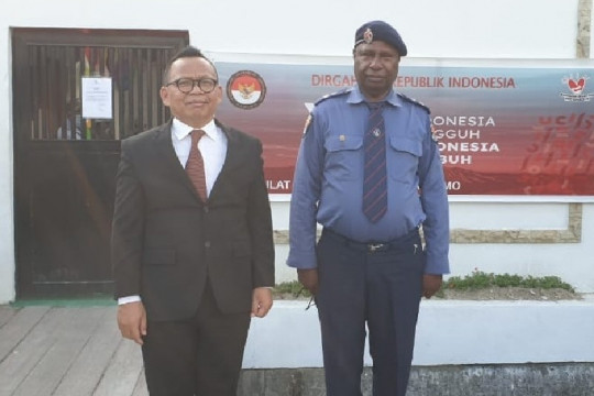 Kapolda dan Wali Kota Vanimo, PNG memberi selamat HUT Ke-76 RI