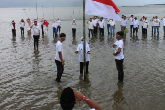 Masyarakat-pemerintah Desa Manyampa kibarkan bendera di hutan mangrove