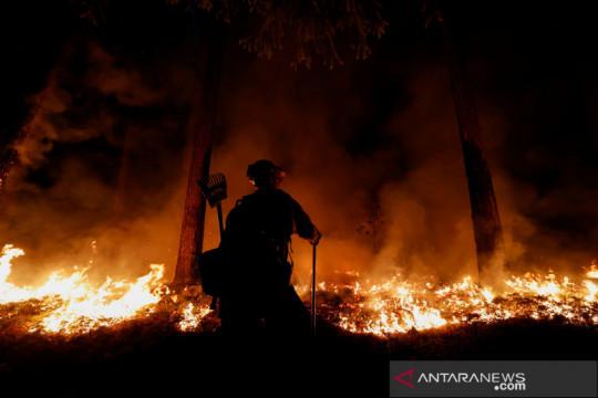 Petugas Rosevelt Hotshot memantau kebakaran hutan di California