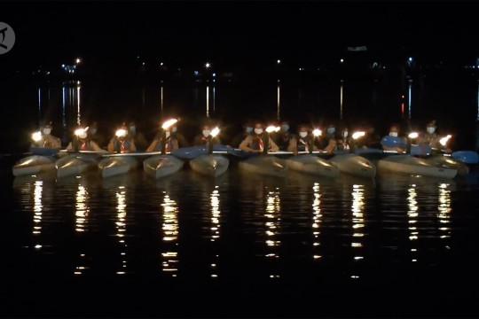 Pramuka Saka Bahari Babel gelar upacara dengan dayung kayak
