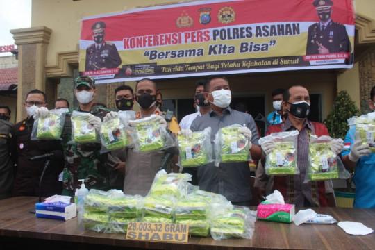 Polres Asahan gagalkan peredaran 28 kg sabu jaringan internasional