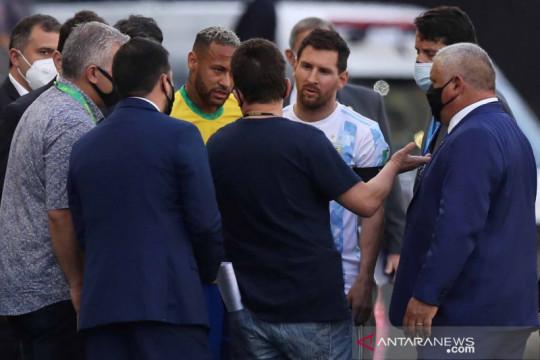 Ada pelanggaran protokol kesehatan, laga Brasil kontra Argentina dihentikan