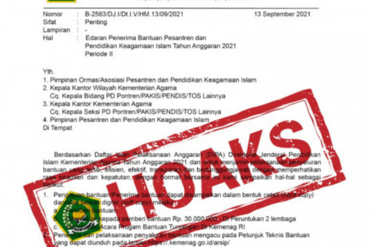 Kemenag pastikan surat edaran penerima bantuan pesantren hoaks