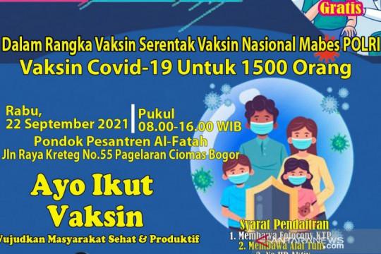 Mabes Polri-KMI sasar vaksinasi ribuan santri di Bogor