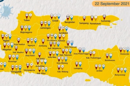Seluruh kabupaten/kota di Jatim sudah zona kuning