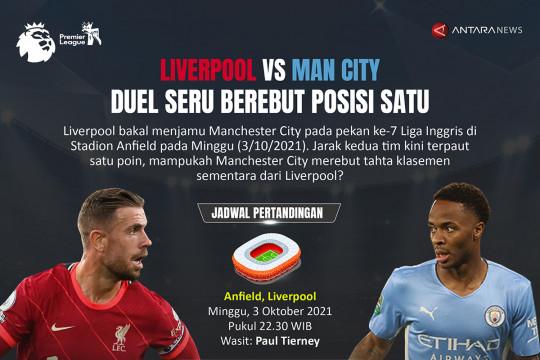Liverpool vs Man City: Duel seru berebut posisi satu