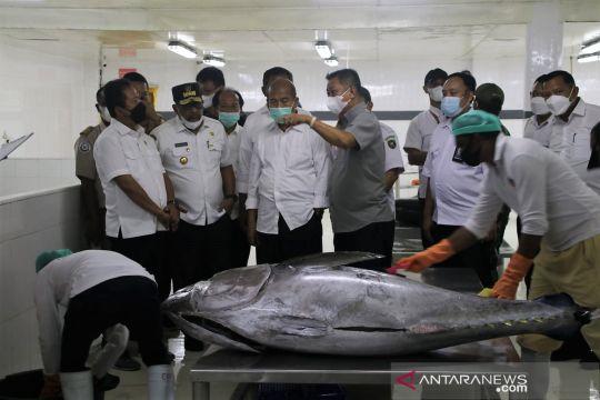 Menteri Trenggono tinjau proses pengolahan ikan di Ambon
