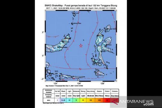 Gempa dengan magnitudo 5,8 guncang Bitung
