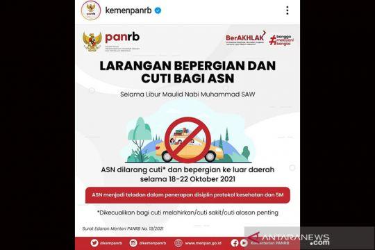 Libur maulid, ASN dilarang cuti bepergian 18-22 Oktober 2021
