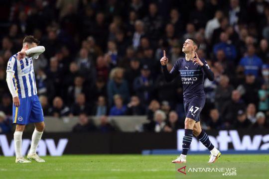 Phil Foden dua gol, Manchester City hajar Brighton 4-1