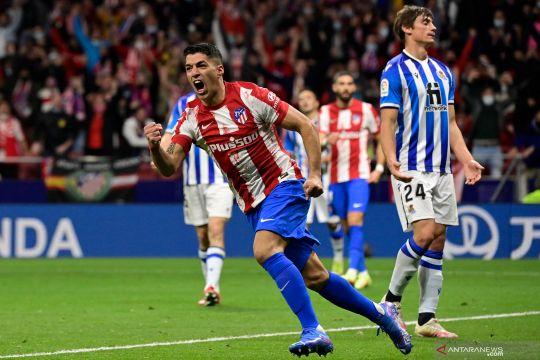Dua gol Luis Suarez selamatkan Atletico dari kekalahan lawan Sociedad
