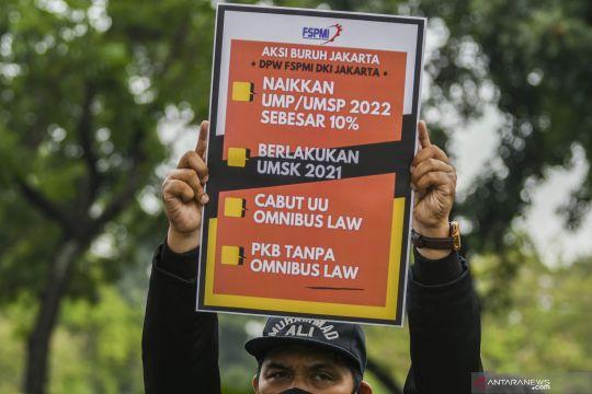 Unjuk rasa buruh di Jakarta