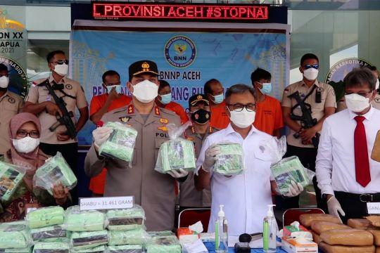 BNNP Aceh musnahkan 31kg sabu dan 153kg ganja