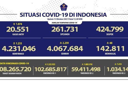 Kasus konfirmasi positif COVID-19 harian RI bertambah 1.233