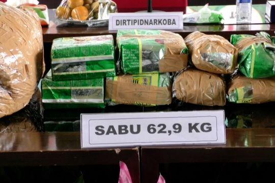 Polri amankan 62,9 kg sabu dan 19 tersangka