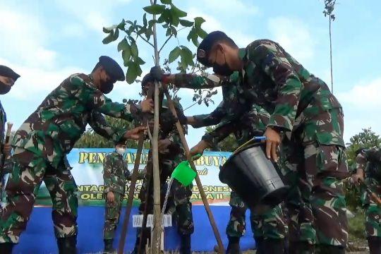 Prajurit TNI AL percantik Markas Koarmada II dengan pohon Tabebuya