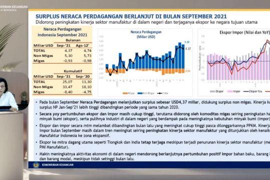 Menkeu: Neraca perdagangan Indonesia surplus USD4,37 miliar