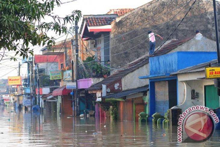 Perumahan warga di Jatiasih, Bekasi, kebanjiran