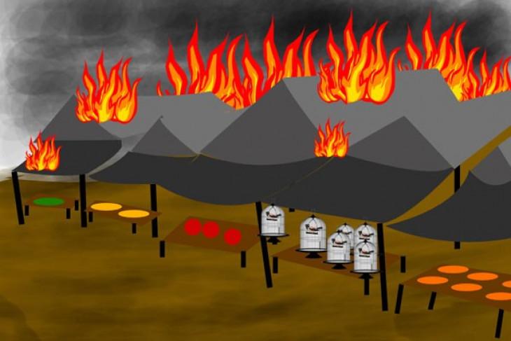 Polrestro Bekasi menangani kasus kebakaran pasar