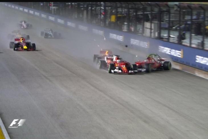 Vettel, Verstappen dan Raikkonen terlibat kecelakaan di awal GP Singapura