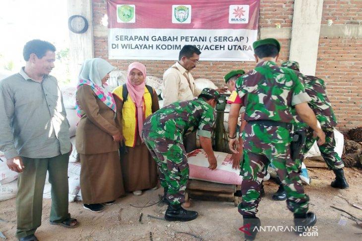 Kodim 0103/Aceh Utara-Bulog serap gabah petani