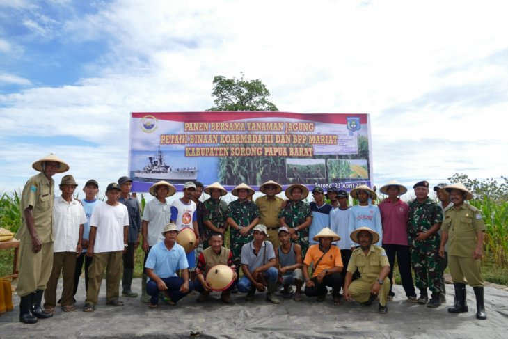 TNI AL dan petani di Sorong panen jagung