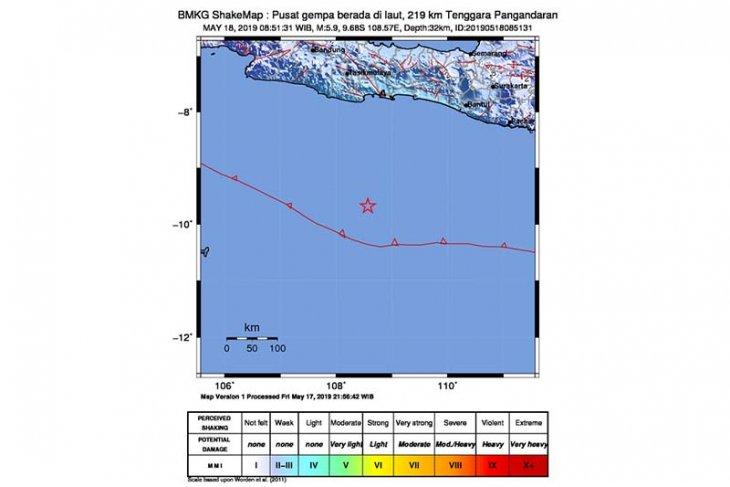 Gempa 5,9 guncang Pangandaran tidak berpotensi tsunami