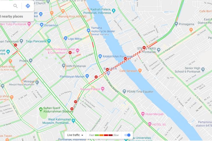 Ruas jalan di Kota Pontianak yang ditutup versi Google Maps