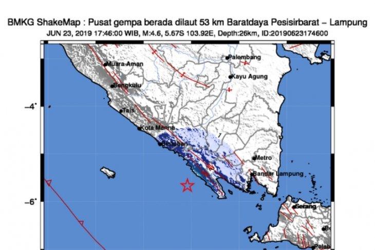 Gempa 4,6 guncang di Pesisir Barat Lampung