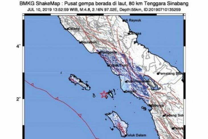 Gempa 4,8 SR guncang  Sinabang Aceh