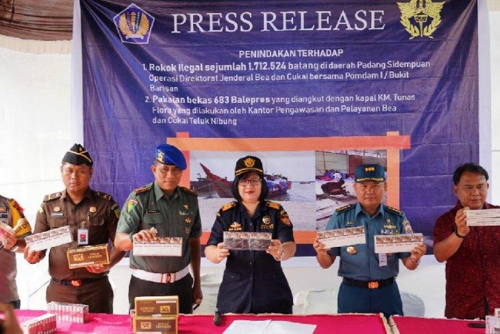 Bea dan Cukai Sumut amankan rokok ilegal dan pakaian bekas impor