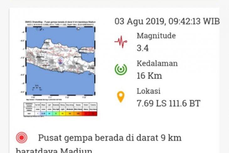 Tercatat 19 gempa bumi di Madiun Sabtu pagi hingga siang