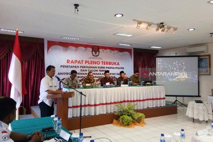 KPU Tapanuli Selatan tetapkan 35 kursi parpol pemenang Pemilu 2019