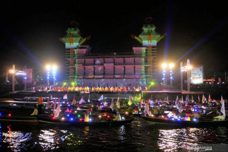 Malam puncak Haornas 2019 di  tepian Sungai Martapura Banjarmasin