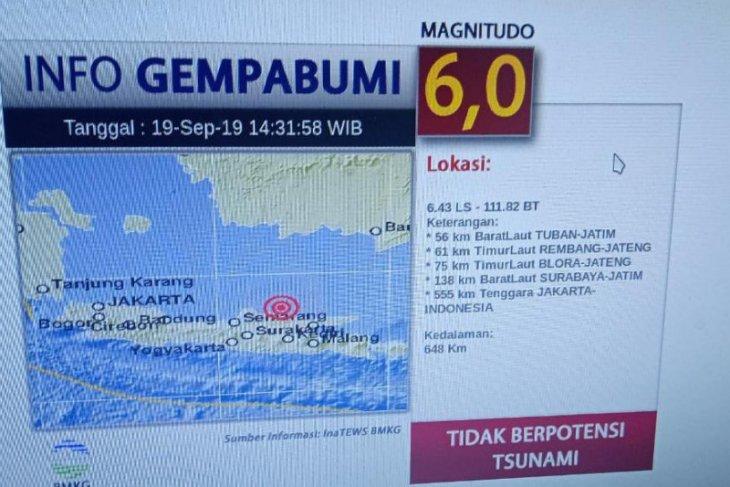 Gempa susulan di Tuban capai  6 magnitudo